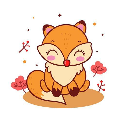 Leuke vos Kawaii dierlijke cartoon, herfst bos bos tekens vector