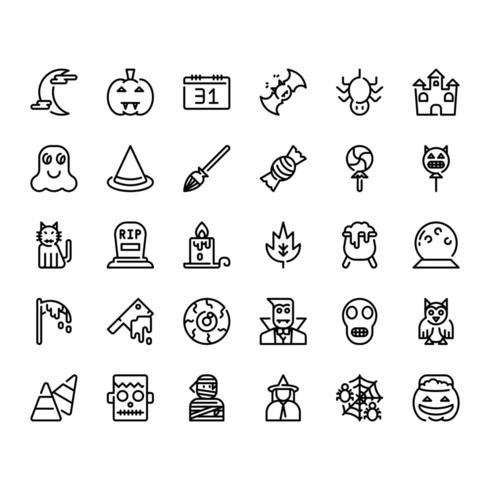 Halloween decoratie eenvoudig overzicht icon set vector