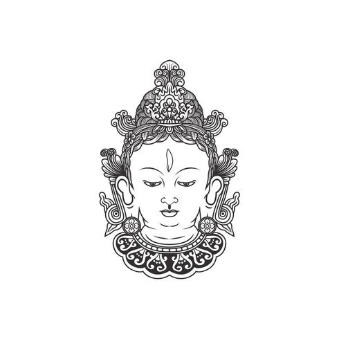 India Tara Buddha, Boeddha gezicht illustratie vector