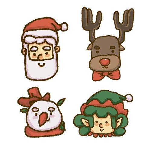 Kerst gezicht van santa, rendieren, sneeuwpop en kabouter vector