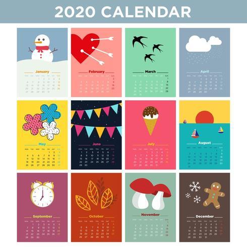 Tweeduizendtwintig geïllustreerde kalender vector