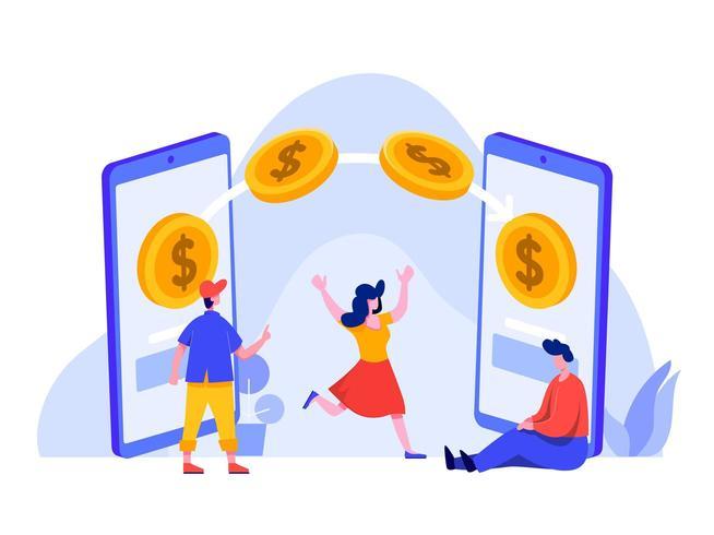 Geld overmaken met mobiele telefoon vector