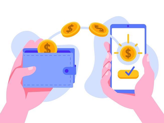 Online geld overmaken met mobiele telefoon vector