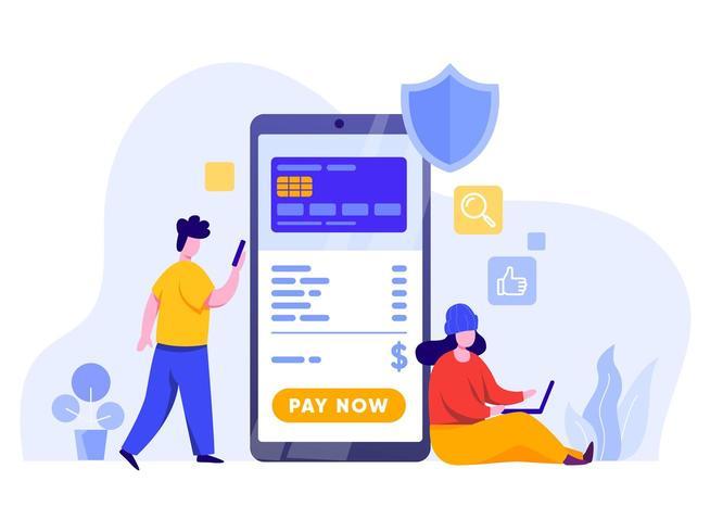 Online betaling met mobiele telefoon vector