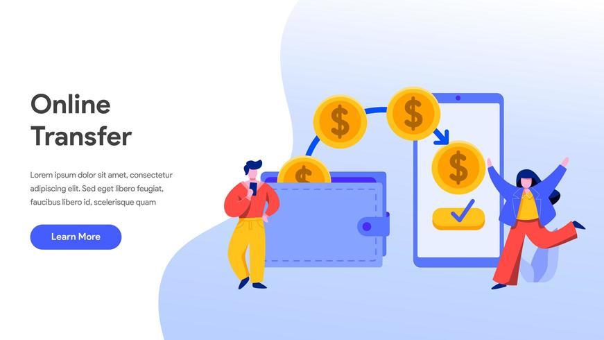 Landingspagina sjabloon van online geldoverdracht vector