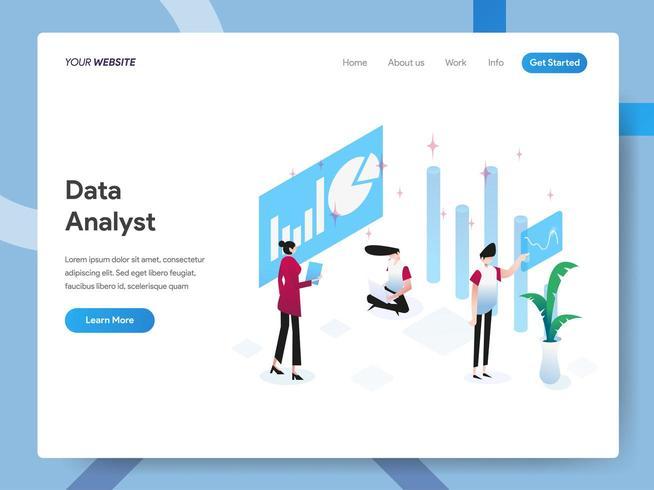 Landingspagina sjabloon van Data Analyst vector