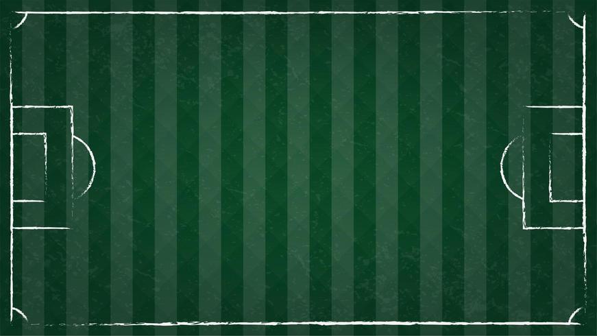 Bovenaanzicht van voetbal op groen gras en lijn van voetbalveld vector