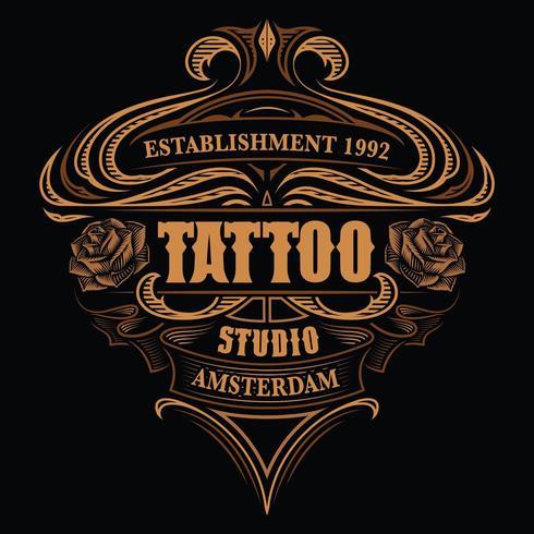 Vintage logo voor de tattoo-studio vector