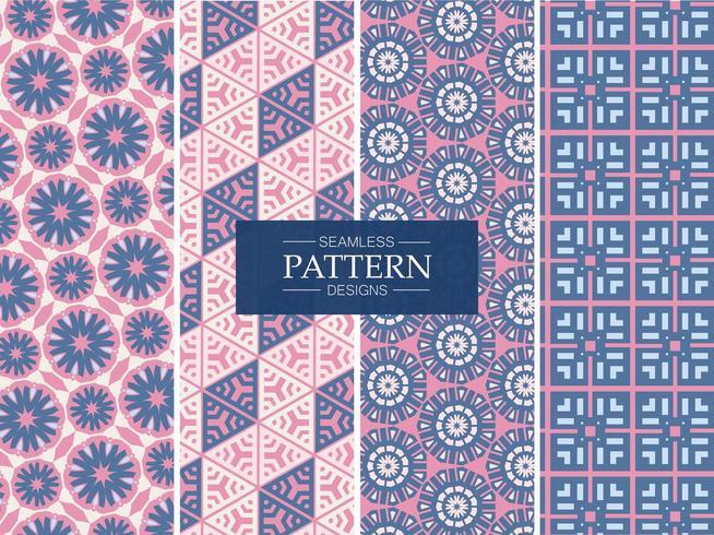 Roze en blauwe naadloze patronen vector