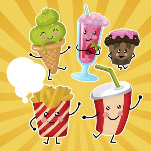 Kinderen Fast Food Set vector