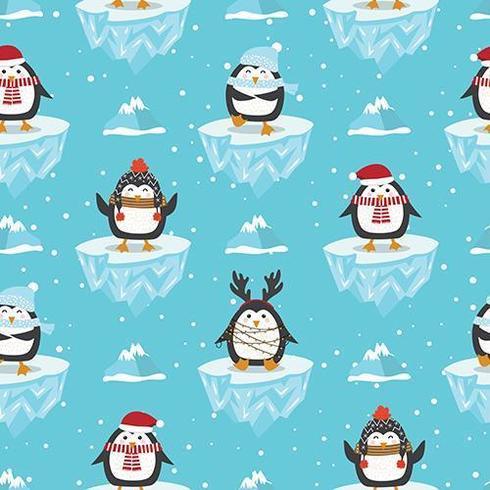 Kerstmis naadloos patroon met pinguïn vector