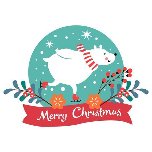 Kerstkaart met ijsbeer schaatsen vector