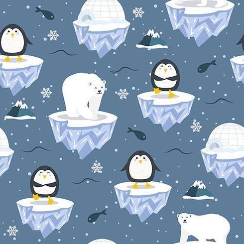Kerstmis naadloos patroon met pinguïn op ijsschots vector