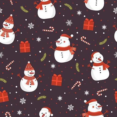 Kerstmis naadloos patroon met sneeuwman vector