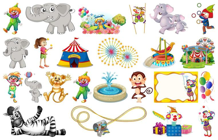 Set van dieren en circus vector