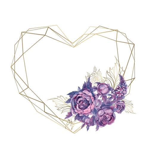 Kaartkader in de vorm van een hart met een boeket bloemen. vector