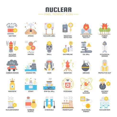 Nucleaire elementen vlakke kleur pictogrammen vector