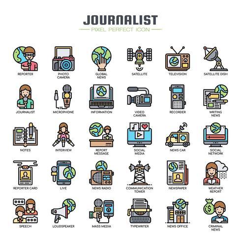 Journalist elementen dunne lijn pictogrammen vector