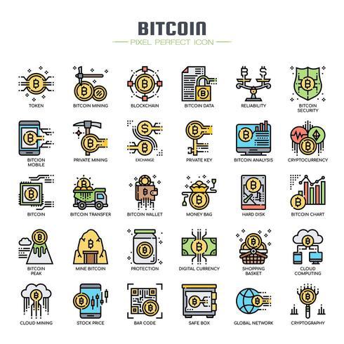Bitcoin-elementen Dunne lijnpictogrammen vector