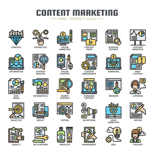 Content Marketing Dunne Lijn Pictogrammen vector