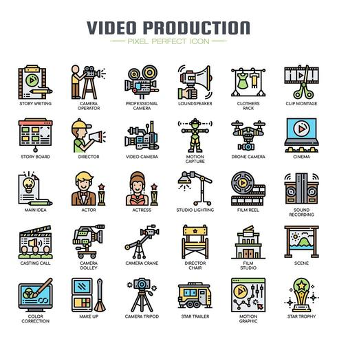 Videoproductie Dunne Lijnpictogrammen vector