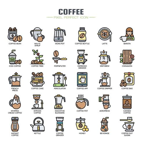Cofee-elementen Dunne lijnkleurpictogrammen vector