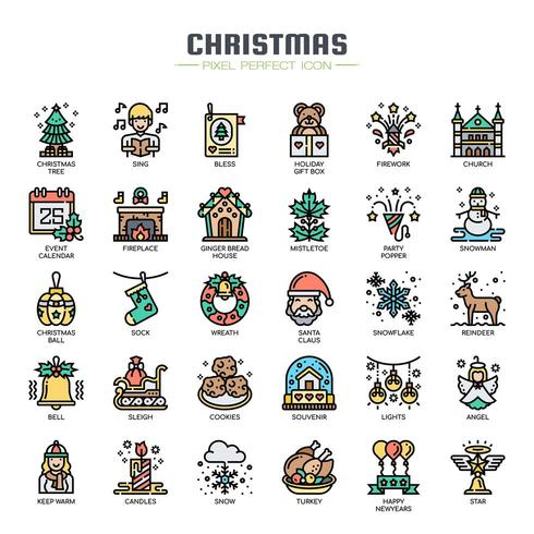 Kerstmis elementen dunne lijn pictogrammen vector