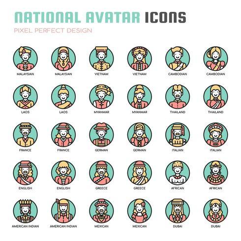 Nationale avatar, dunne lijn en pixel perfecte pictogrammen vector