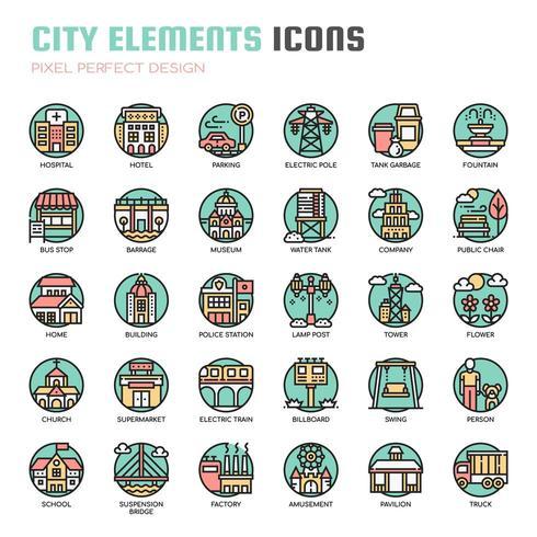 Stad elementen dunne lijn pictogrammen vector