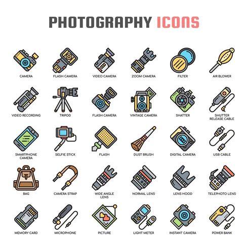 Dunne lijnpictogrammen fotografie vector
