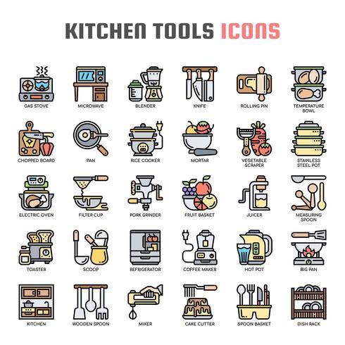 Keuken gereedschap dunne lijn pictogrammen vector