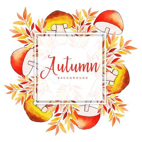 Mooie aquarel herfstbladeren frame vector