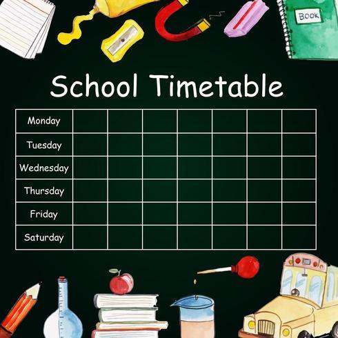 Tijdschema Terug naar school vector