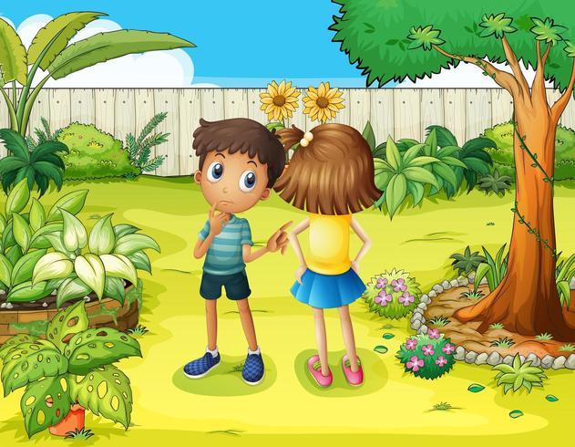 Een jongen en een meisje ruzie in de tuin vector