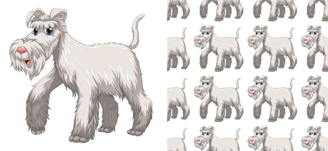 Naadloos en geïsoleerd hondpatroon vector