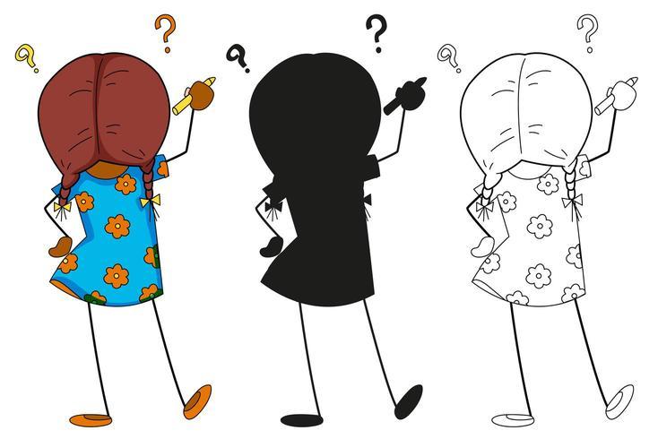 Meisje doodling karakter in kleur, silhouet en overzicht vector