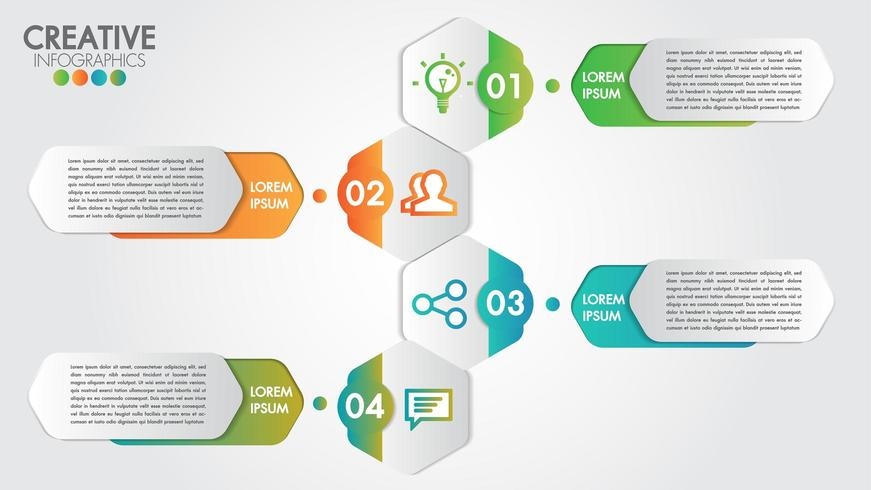 Infographic met modern design voor bedrijven met 4 stappen of opties vector