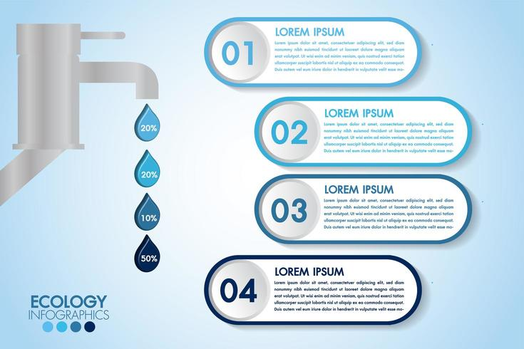 Infographic eco water blauw ontwerp met 4 stappen en kraan vector