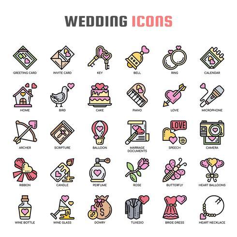 Bruiloft dunne lijn pictogrammen vector