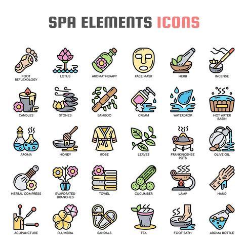 Spa-elementen dunne lijn pictogrammen vector