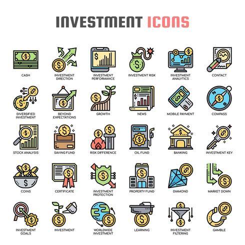 Investeringen dunne lijn kleur pictogrammen vector