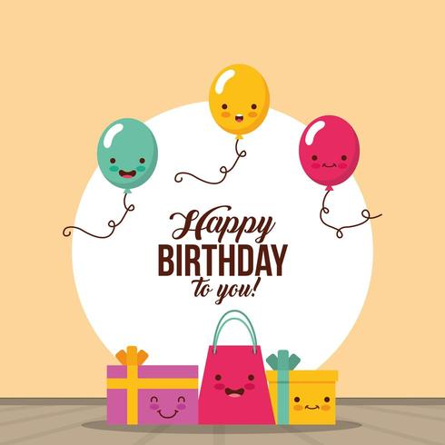 gelukkige verjaardagskaart met kawaii geschenken en ballonnen vector