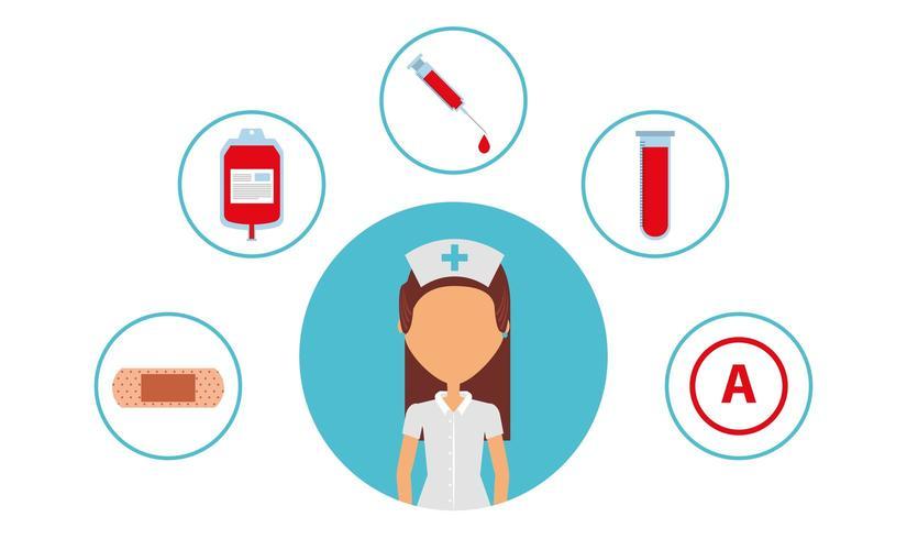 medische zorgverlener met medische pictogrammen vector