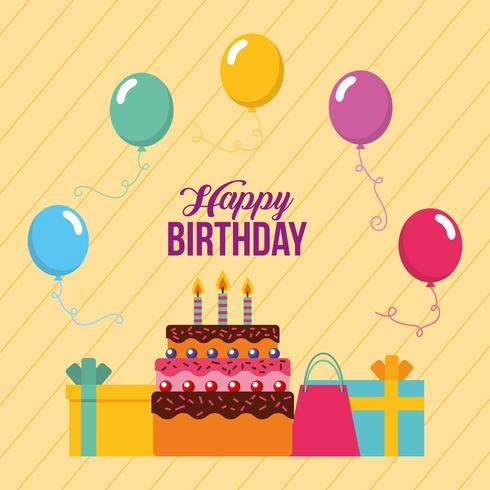 gelukkige verjaardagskaart met cake, cadeautjes en ballonnen vector