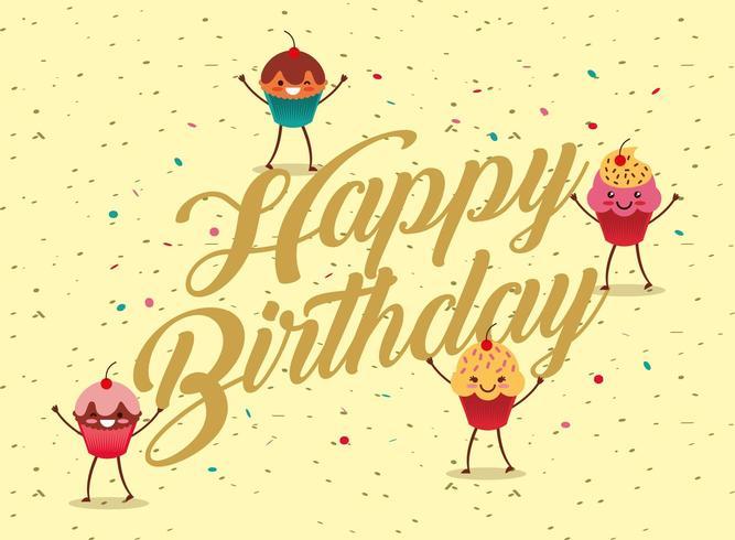 gelukkige verjaardagskaart met kawaii cupcakes vector