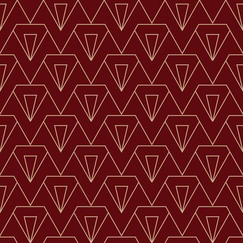 eenvoudig diamant art deco patroon in kastanjebruin en goud vector
