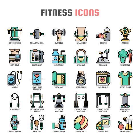 Fitness dunne lijn pictogrammen vector
