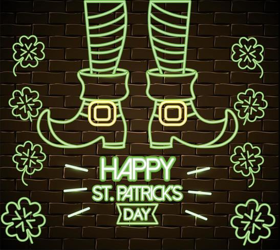 St Patrick benen met laarzen en klavers neon label vector
