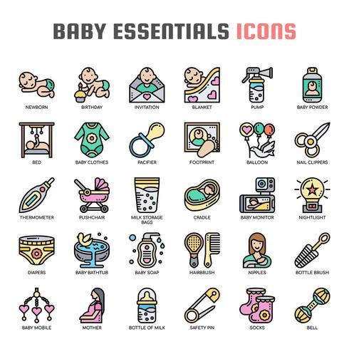 Baby Essentials dunne lijn pictogrammen vector
