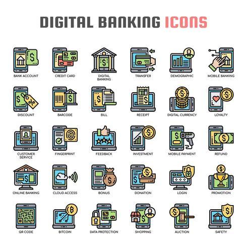 Dunne lijnpictogrammen voor digitaal bankieren vector